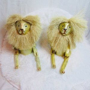 Perfect wood lions home decor set of two